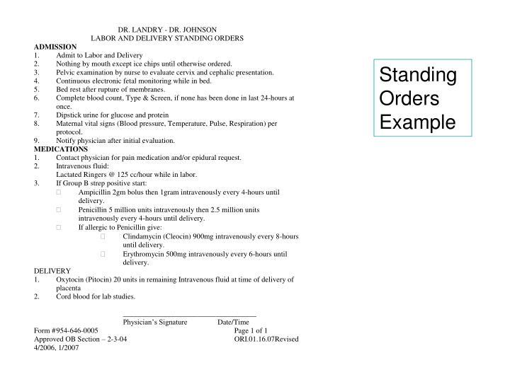 Standing Orders Example
