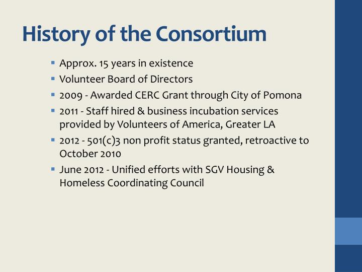 History of the Consortium
