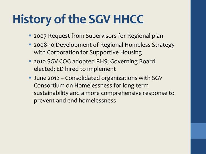 History of the sgv hhcc