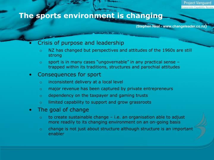 The sports environment is changing