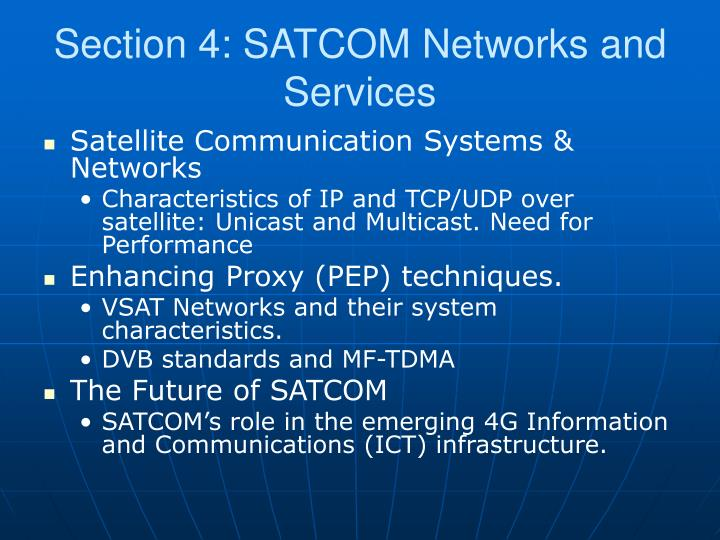 Section 4: SATCOM Networks and Services