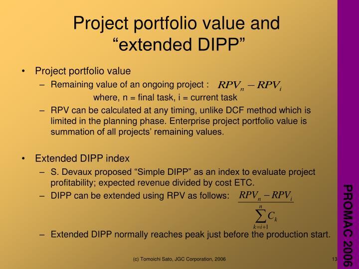 Project portfolio value and