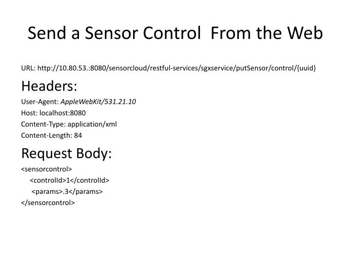 Send a Sensor Control  From the Web