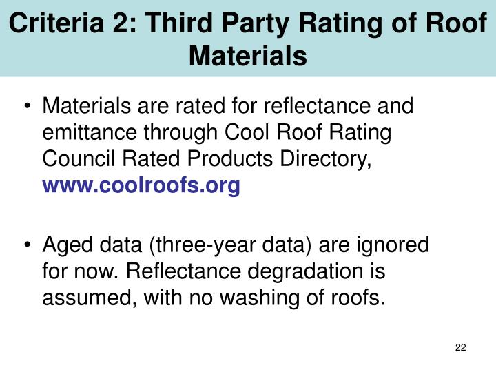 Criteria 2: Third Party Rating of Roof Materials