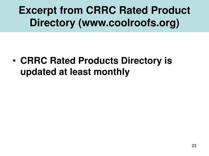 Excerpt from CRRC Rated Product Directory (www.coolroofs.org)