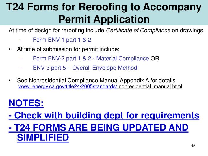 T24 Forms for Reroofing to Accompany