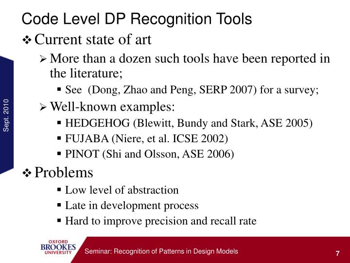 Code Level DP Recognition Tools