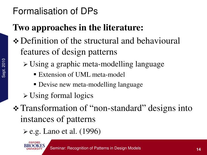 Formalisation of DPs