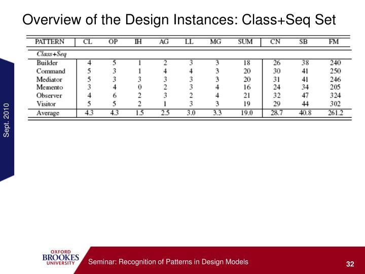 Overview of the Design Instances: Class+Seq Set