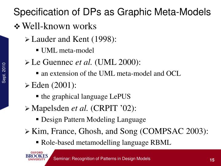 Specification of DPs as