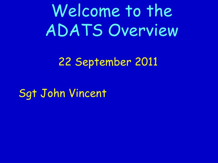 Welcome to the adats overview