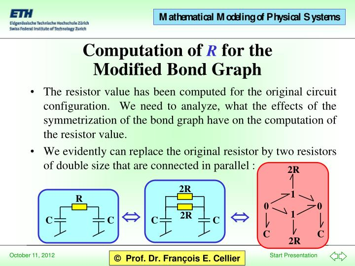 The resistor value has been computed for the original circuit configuration.  We need to analyze, what the effects of the symmetrization of the bond graph have on the computation of the resistor value.
