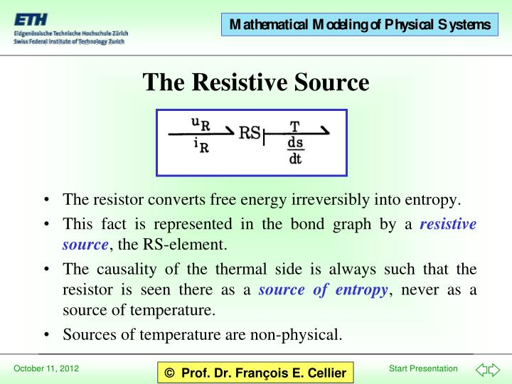 The resistor converts free energy irreversibly into entropy.