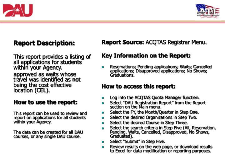 3. DAU Registration Report