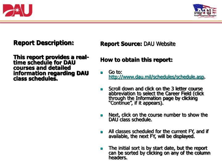 5. DAU Course Schedule