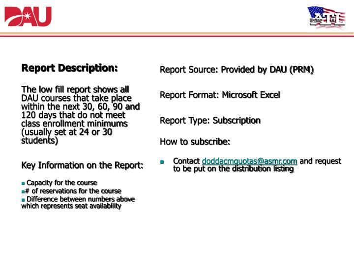 6. Low Fill Report