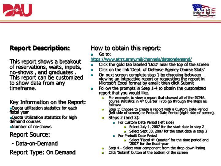 8. Defense Agency Course Statistics Report