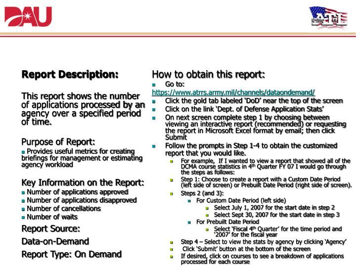 9. Department of Defense Application Statistics