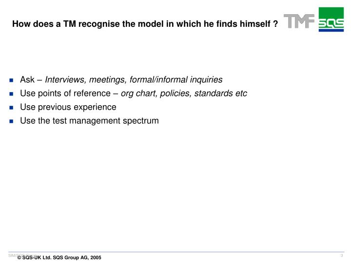 How does a TM recognise the model in which he finds himself ?