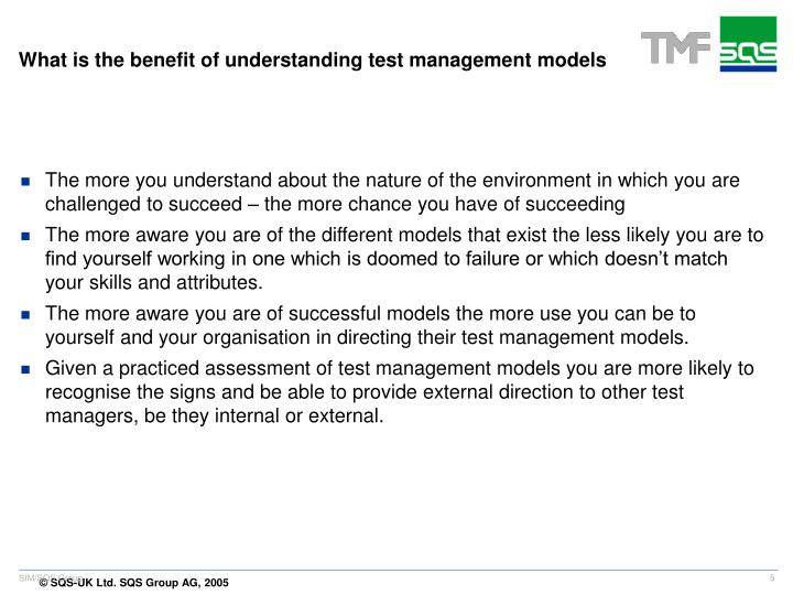 What is the benefit of understanding test management models