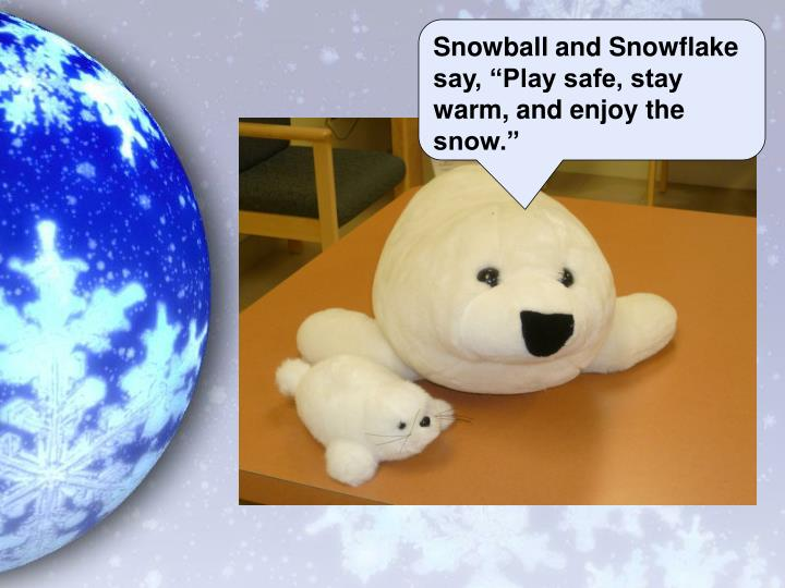 "Snowball and Snowflake say, ""Play safe, stay warm, and enjoy the snow."""