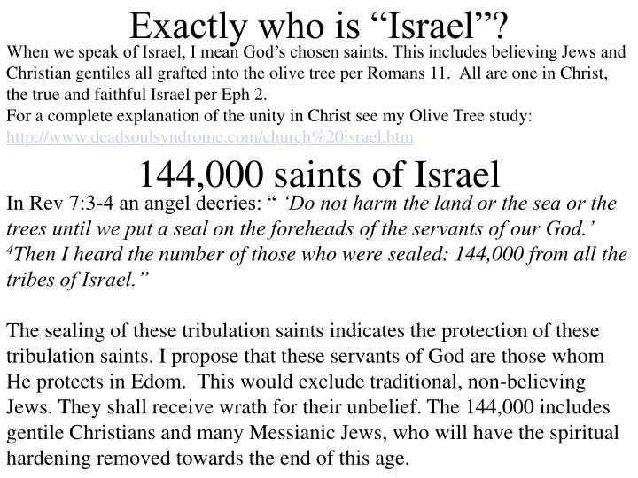 When we speak of Israel, I mean God's chosen saints. This includes believing Jews and Christian gentiles all grafted into the olive tree per Romans 11.  All are one in Christ, the true and faithful Israel per Eph 2.