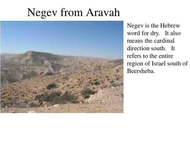 Negev is the Hebrew word for dry.   It also means the cardinal direction south.   It refers to the entire region of Israel south of Beersheba.