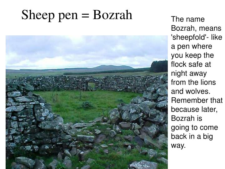 The name Bozrah, means 'sheepfold'- like a pen where you keep the flock safe at night away from the lions and wolves.  Remember that because later, Bozrah is going to come back in a big way.