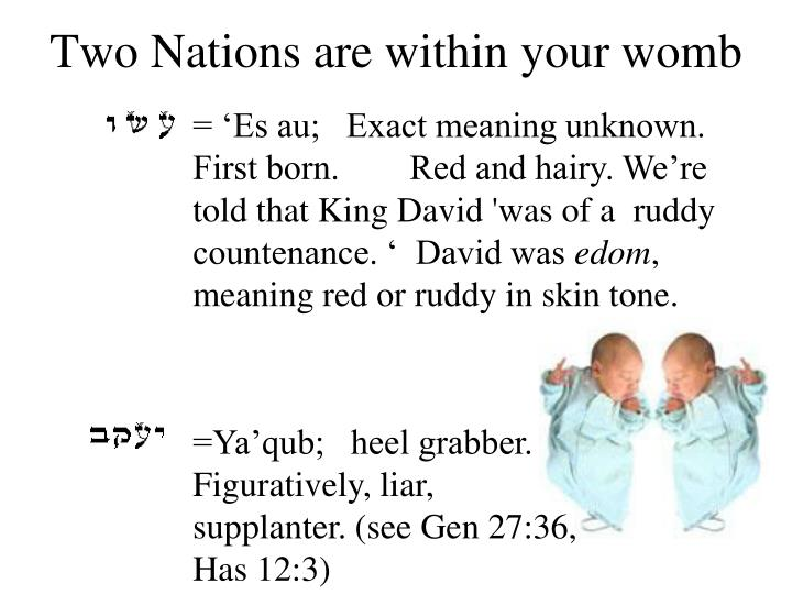 Two nations are within your womb