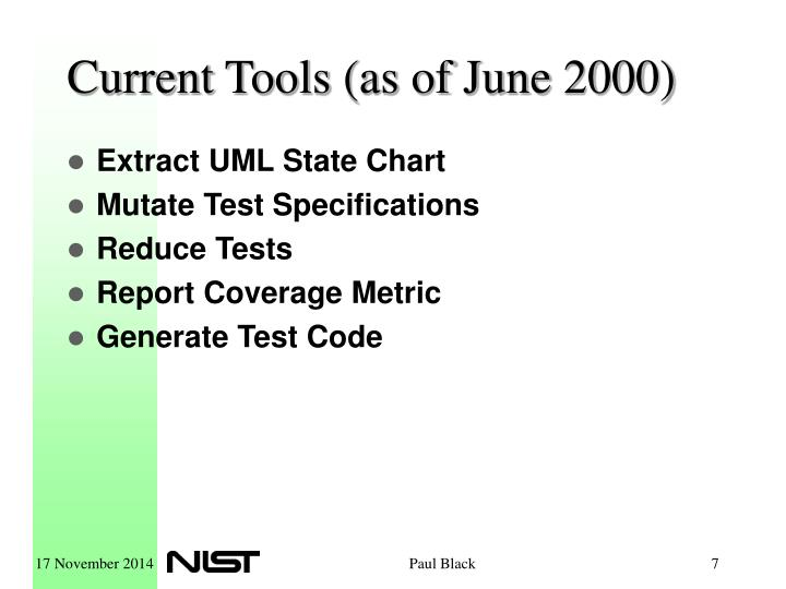 Current Tools (as of June 2000)