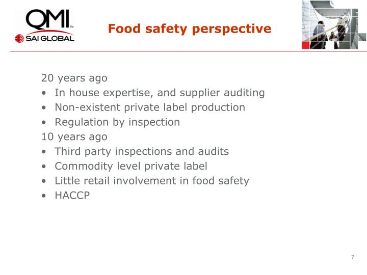 Food safety perspective