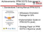 achievements ppm dots sub group in myanmar