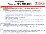 myanmar plans for ppm 2008 2009