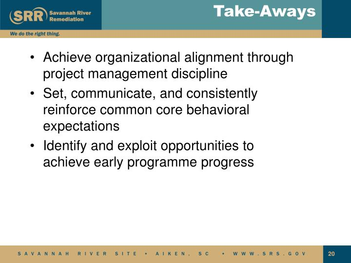 Achieve organizational alignment through project management discipline