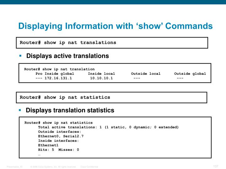 Displaying Information with 'show' Commands