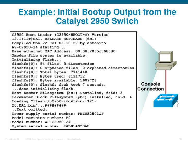 Example: Initial Bootup Output from the Catalyst 2950 Switch
