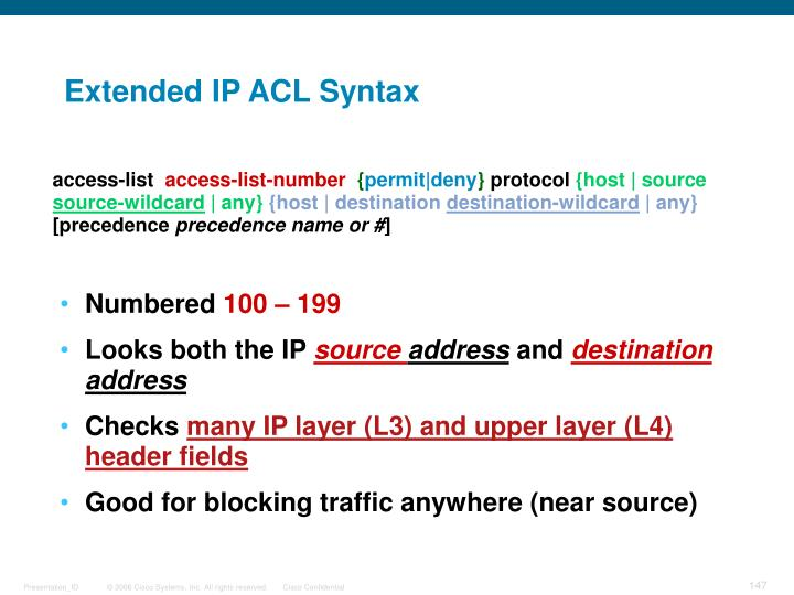 Extended IP ACL Syntax