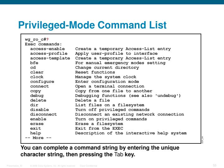 Privileged-Mode Command List