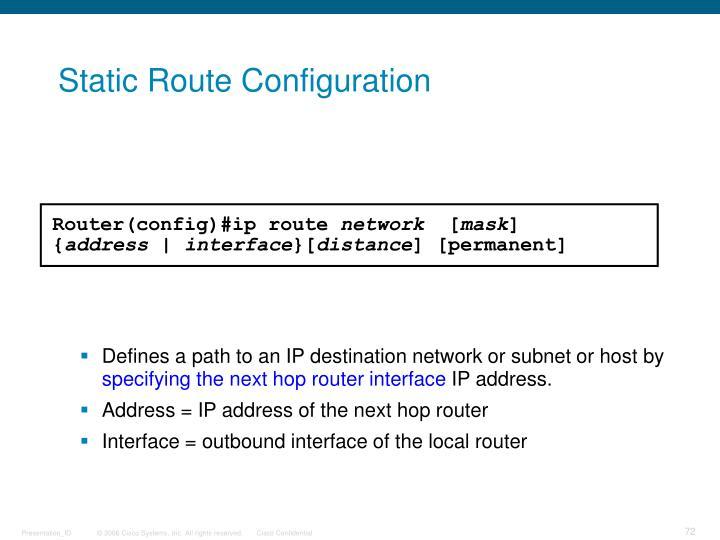 Static Route Configuration