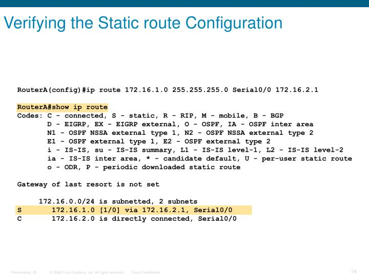 Verifying the Static route Configuration