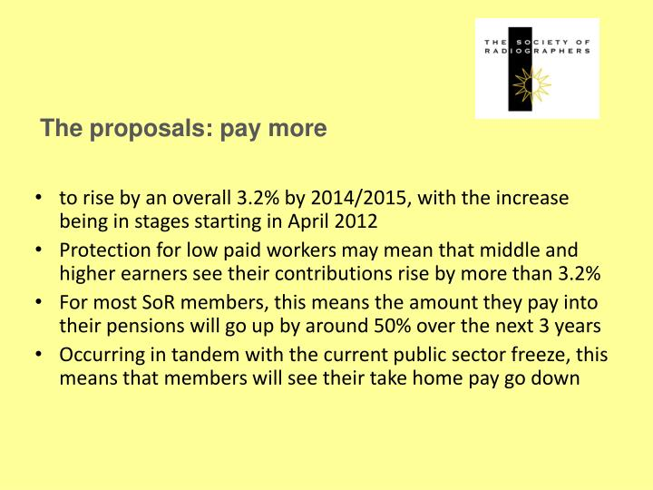 The proposals: pay more