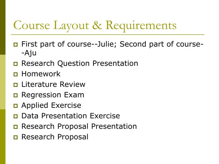 Course Layout & Requirements