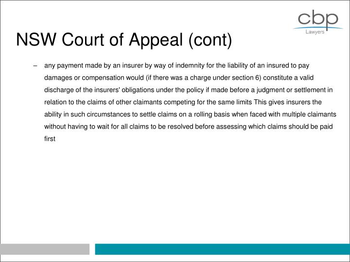NSW Court of Appeal (cont)