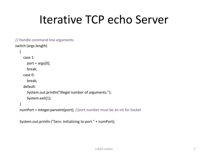 Iterative TCP echo Server