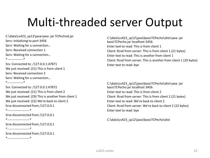 Multi-threaded server Output