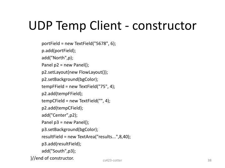 UDP Temp Client - constructor