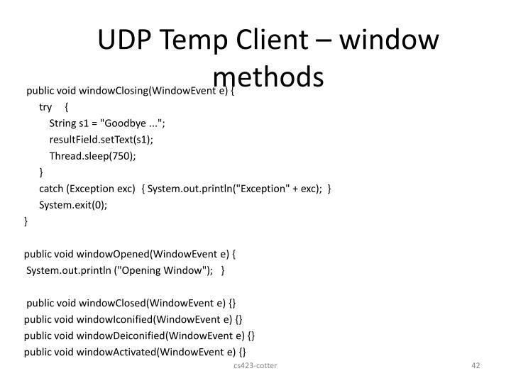 UDP Temp Client – window methods