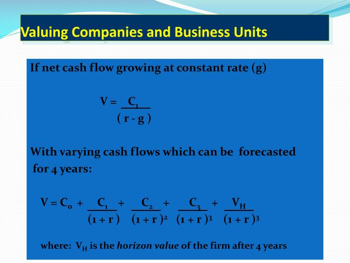Valuing Companies and Business Units