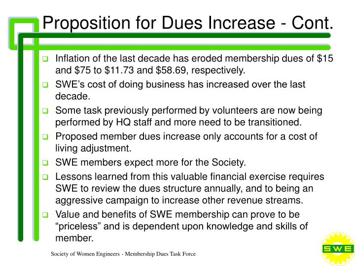 Proposition for Dues Increase - Cont.