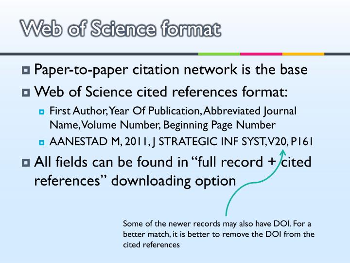 Web of Science format